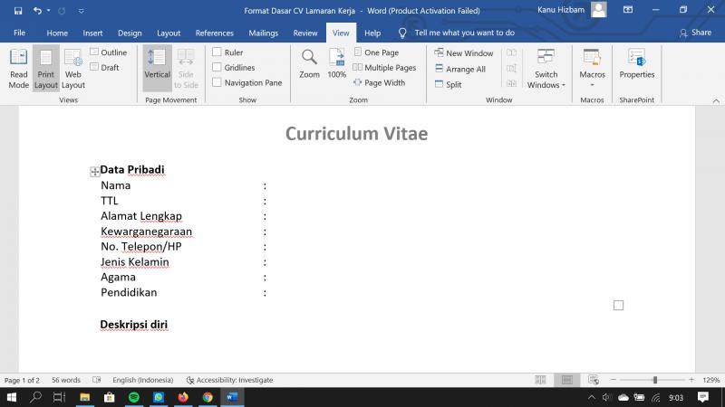 Lengkap 15 Contoh Cv Lamaran Kerja Dalam Berbagai Versi