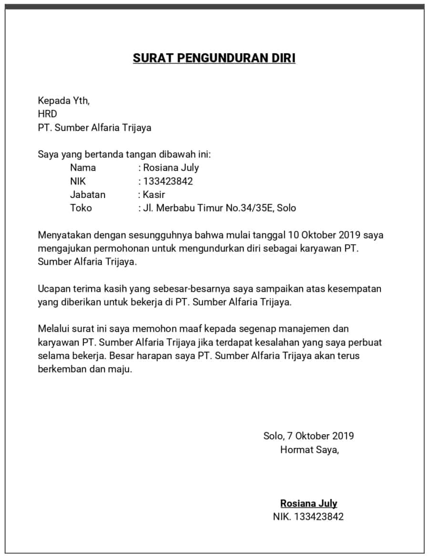 47++ Contoh surat pengunduran diri dari pt terbaru yang baik dan benar