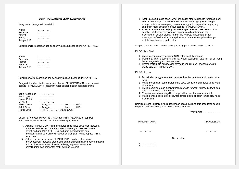 surat perjanjian sewa mobil