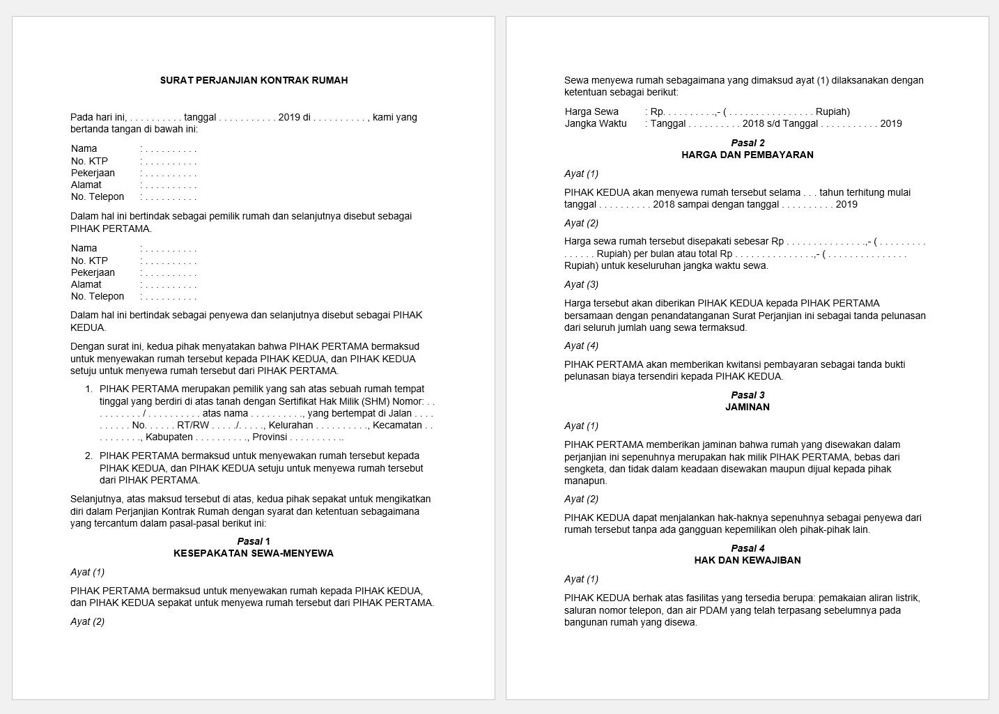 surat perjanjian kontrak rumah doc