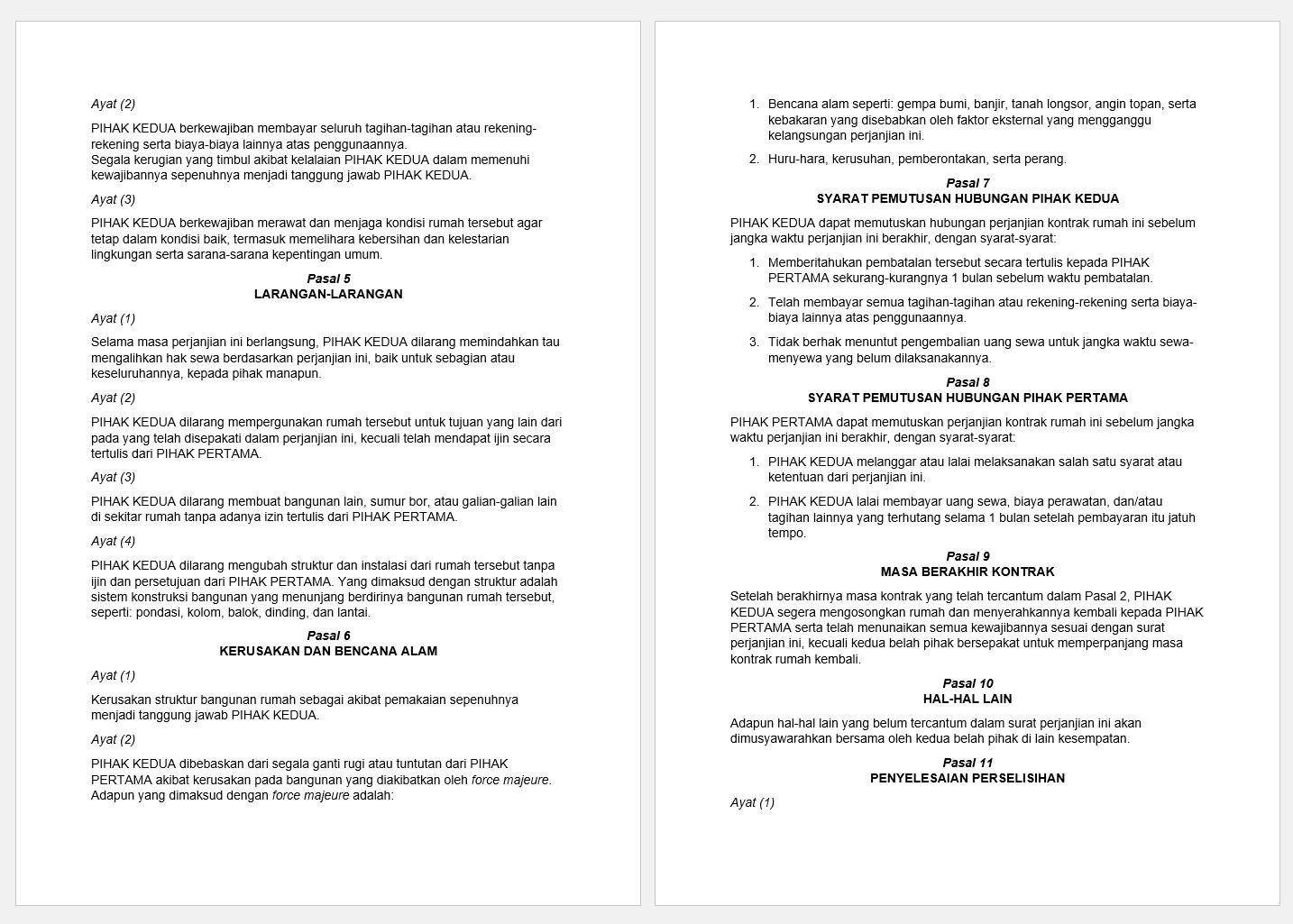 surat perjanjian sewa rumah doc